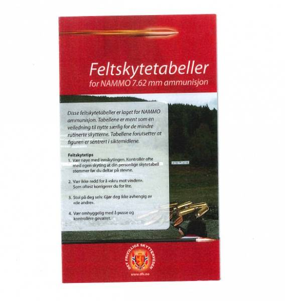 FELTSKYTINGSTABELL FOR  KAL. 7,62